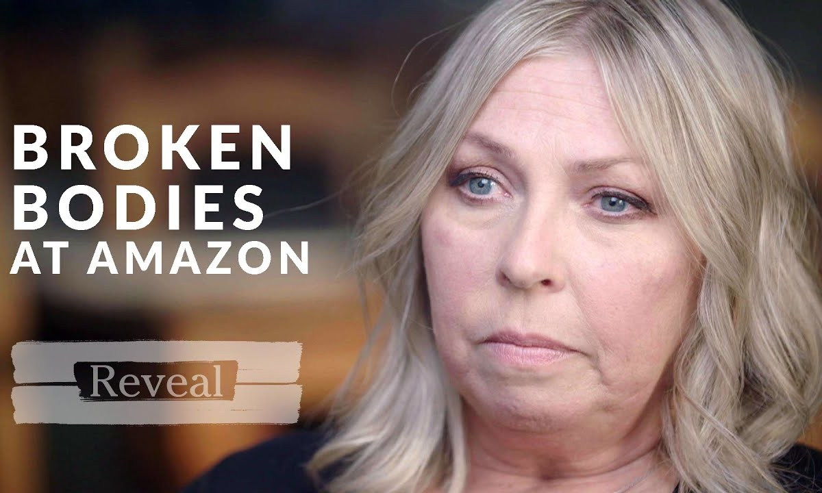 "A woman looks upset as the text ""broken bodies at amazon"" is next to her face"