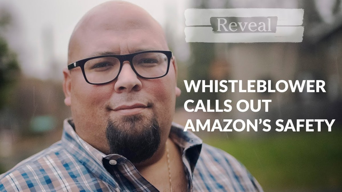 """A still from the video says """"whistleblower calls out amazon's safety"""""""