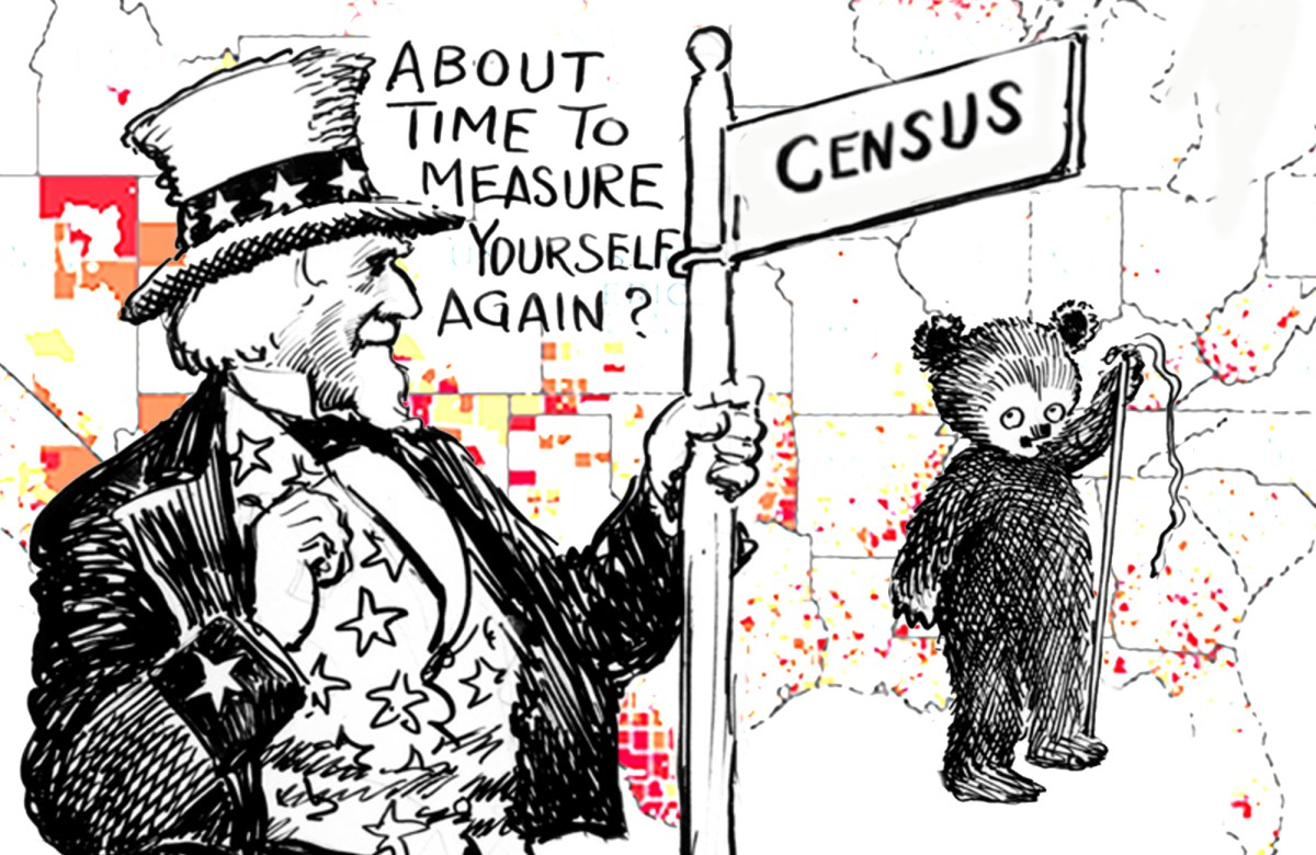"A collage illustration places a vintage cartoon about the census, featuring uncle sam saying ""it's time to measure yourself again"" to a bear, over a map of the Southern United States."