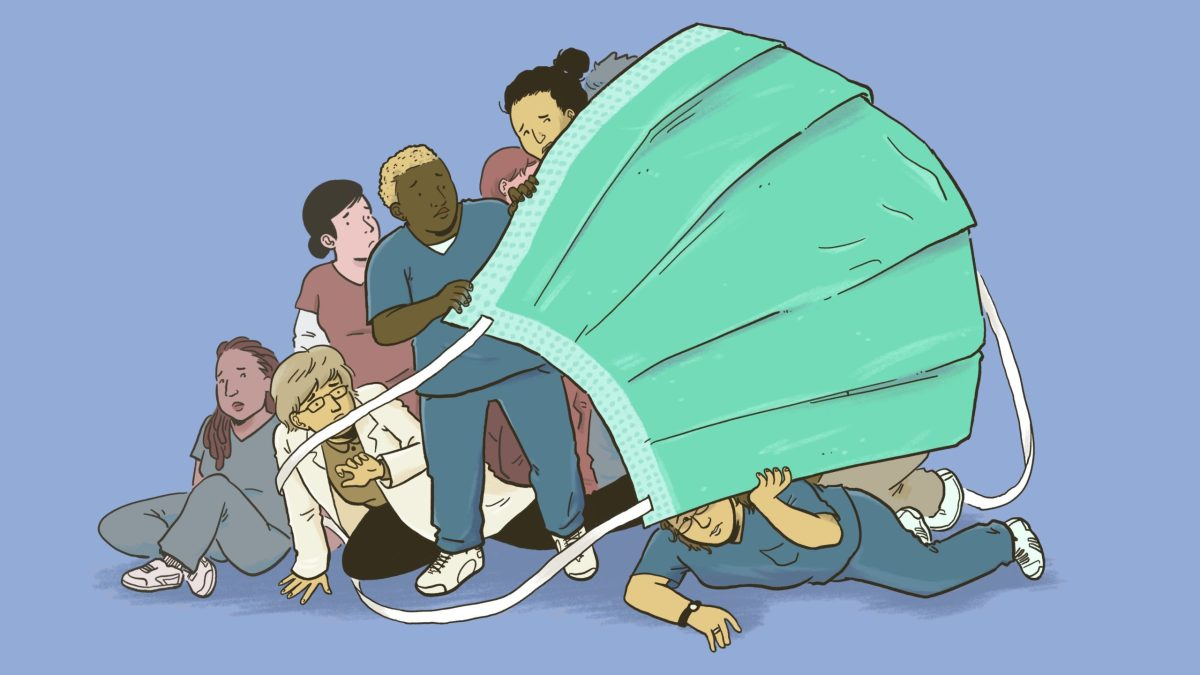 Nurses and doctors hiding under an oversized, flimsy surgical mask.