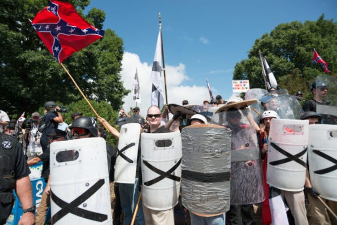 DOWNTOWN, CHARLOTTESVILLE, VIRGINIA, UNITED STATES - 2017/08/12: Neo-Nazis, white supremacists and other alt-right factions scuffled with counter-demonstrators near Emancipation Park (Formerly