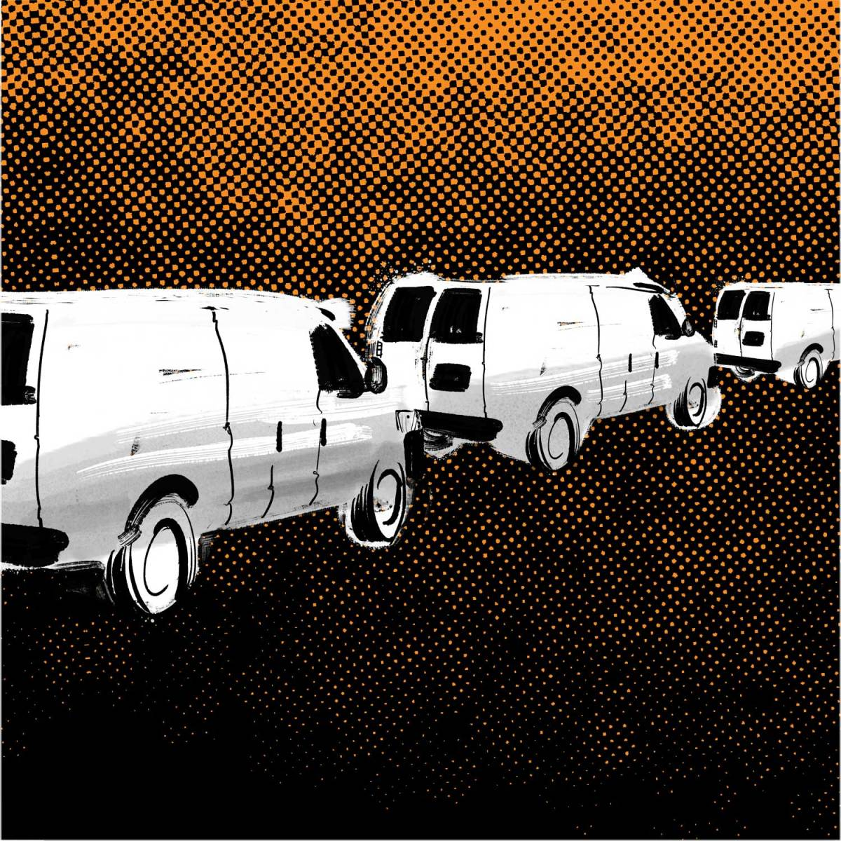 An illustration shows a line of white vans driving against a dark background and orange sky.