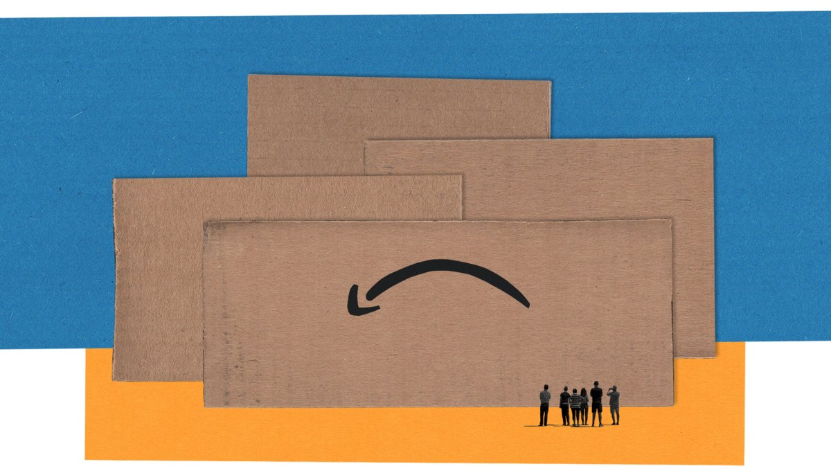 In an illustration, a group of people look up at towering blocks of cardboard. One piece of cardboard features a logo with a downturned arrow.