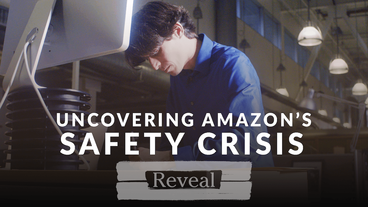 """Reporter Will Evans works at his computer in the Reveal office. Text over him reads, """"Uncovering Amazon's Safety Crisis."""""""