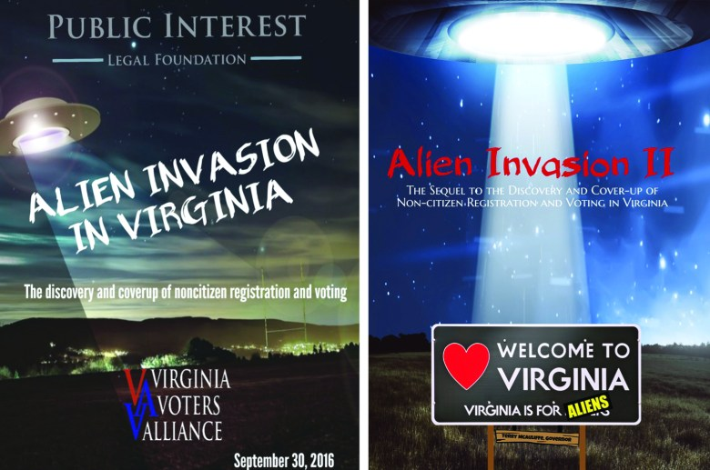 "Two reports that claim noncitizens voted in Virginia elections, ""Alien Invasion in Virginia"" and ""Alien Invasion II,"" have covers featuring UFOs."