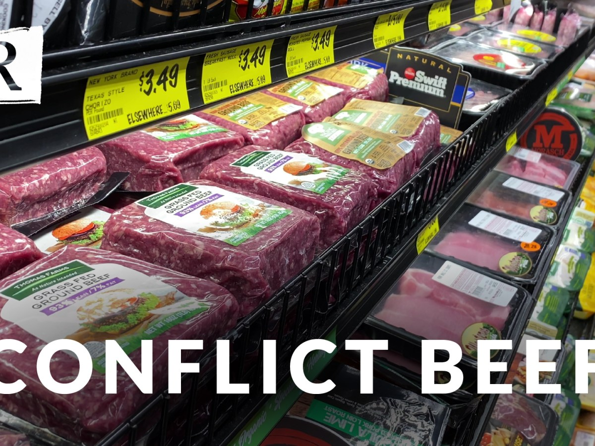 Packages of ground beef fill a grocery store shelf.