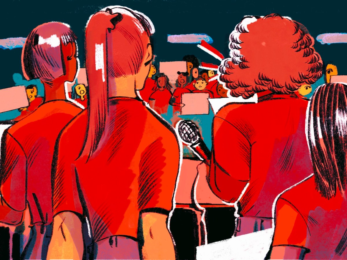 An illustration shows a group of teenage girls with their backs to the viewer, speaking into a microphone at a podium. Beyond them is a crowd of people with protest signs. The hues are red and purple.