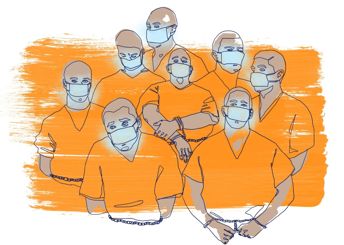 An illustration in shades of orange shows a group of male prisoners with their hands cuffed in front of them. They all wear surgical masks.