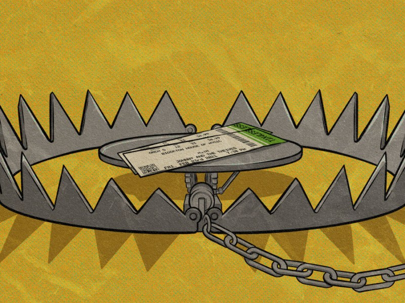 An illustration shows a pair of paper event tickets sitting inside a claw-style trap.