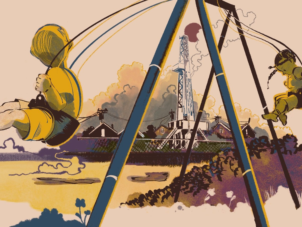 An illustration in tones of yellow and brown shows two small children swinging on a playground. In the distance behind them is a natural gas drilling rig.