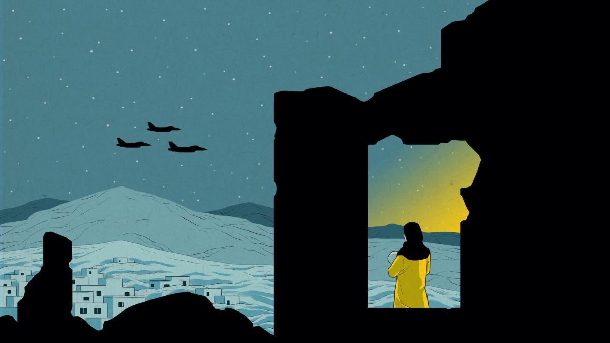 An illustration in shades of blue shows a woman standing in a ruined building as fighter jets fly past. In the corner is a burst of yellow light that could be a sunrise or explosion.