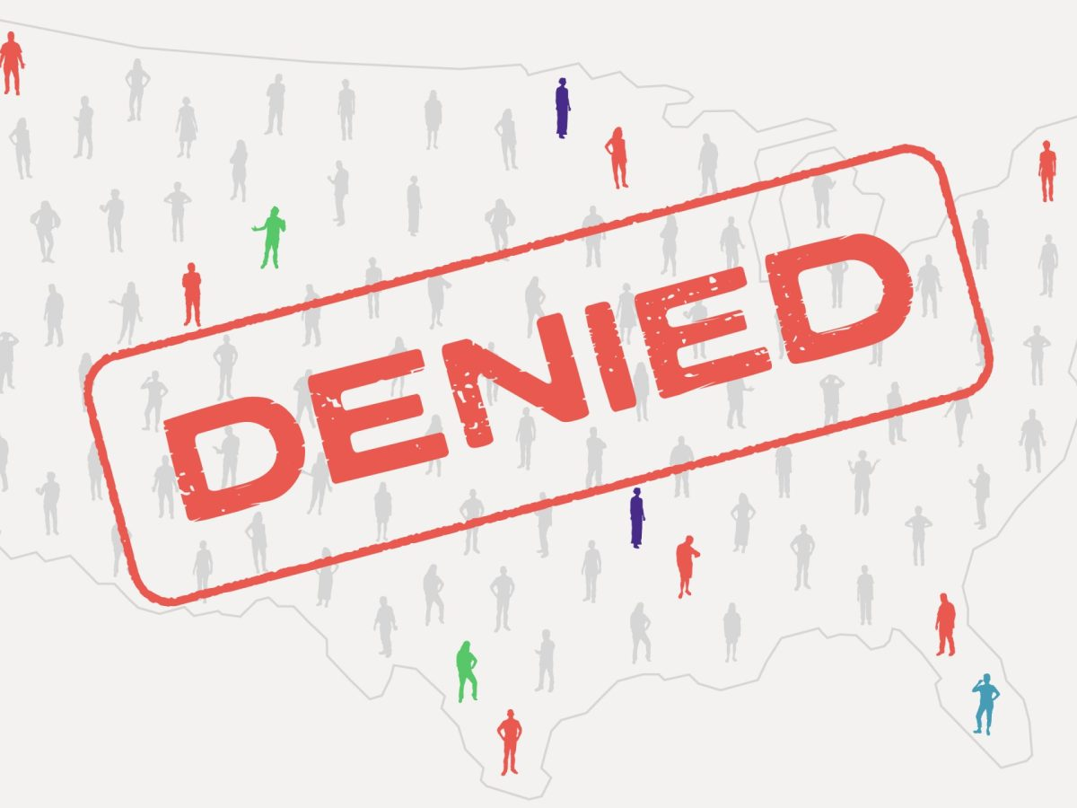 An illustration shows a map of the united states made out of people, with a large DENIED stamp on top
