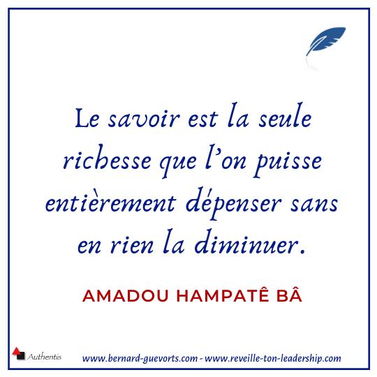 Citation d'Amadou Hampaté Ba sur le savoir
