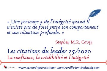 Couverture article citations du leader 25/2020 sur la crédibilité et l'intégrité