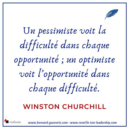 Citation de Churchill sur le pessimisme et l'optimisme