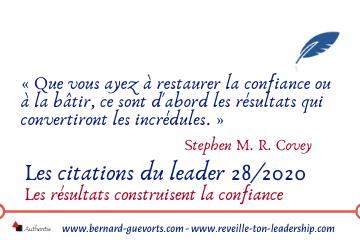 Couverture article citations du leader 28/2020 sur résultats et confiance