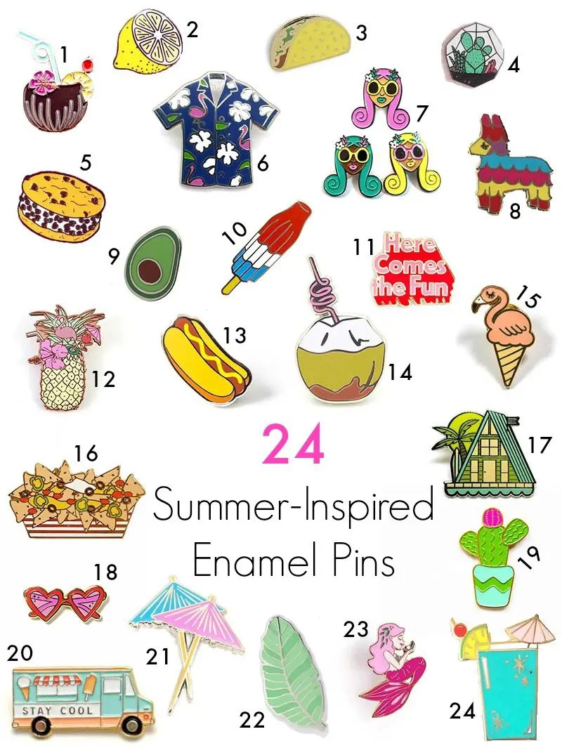 24 Summer Inspired Enamel Pins Revel and Glitter