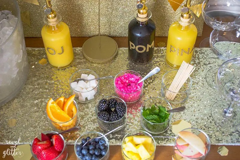 how to host a bridal shower mimosa bar toppings