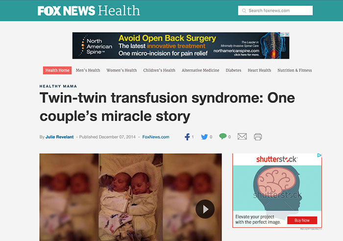 Twin-twin transfusion syndrome: One couple's miracle story