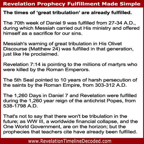 ThisRevelation Timeline Decoded Bible studyshows how the prophecies about times of 'great tribulation' have already been fulfilled.