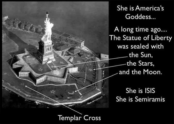 The Statue of Liberty in New York is really ISIS, and pagan god symbols around her.