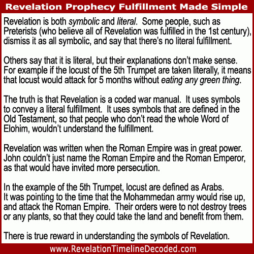 Revelation is both symbolic and literal. It uses symbols to convey a literal fulfillment. It uses symbols that are defined in the Old Testament, so that people who don't read the whole Word of Elohim, wouldn't understand the fulfillment.
