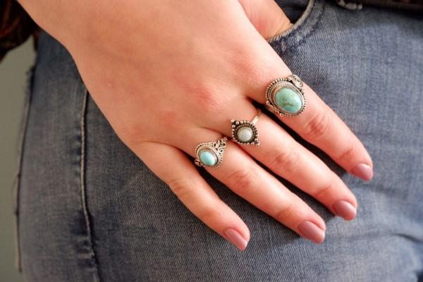 Zilveren ringen met Turkoois en larimar