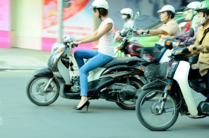 Protective footwear for riding the streets of Hanoi