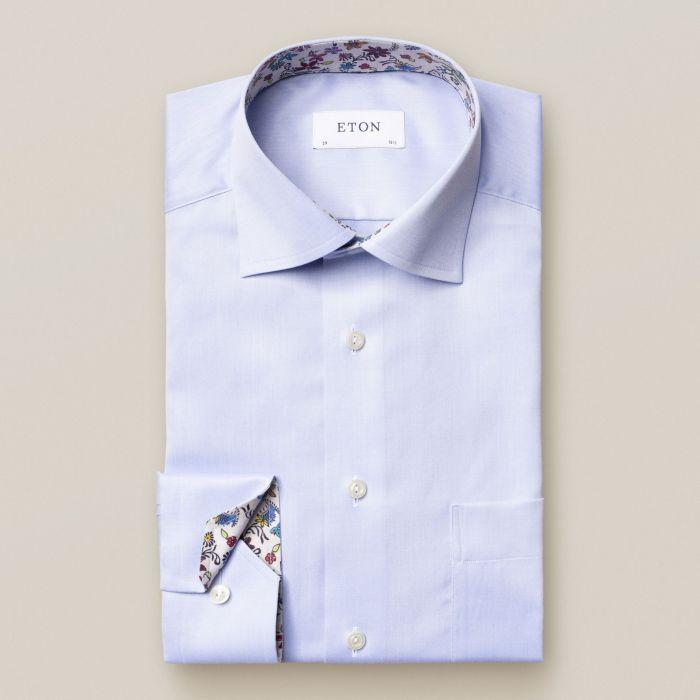 chemise Eton bleu uni col à motifs