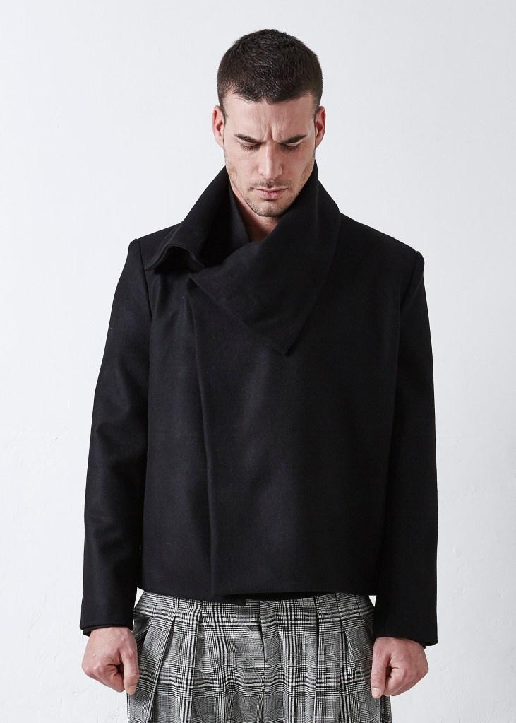 blouson structuré laine noire
