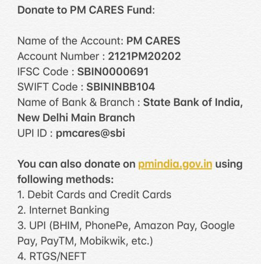 PM Cares Fund account number, bhim upi address