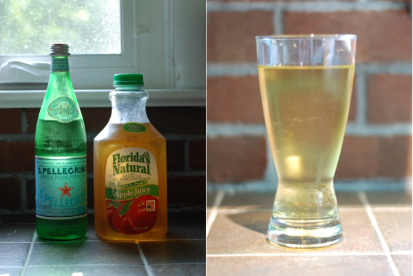 Apfelschorle attempt #1: carbonated mineral water and apple juice