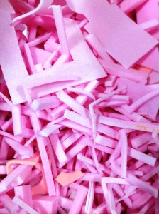 Foam pieces in a variety of colours (pink, white, black, yellow, grey - dependent on availability)