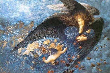 winter angel babes night and her train of stars edward robert hughes 1912