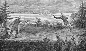 American politician Aaron Burr (1756 - 1836) fatally wounds Alexander Hamilton (1757 - 1804) with a shot from his pistol during a duel in Weehawken, New Jersey, July 11, 1804. Former Secretary of the Treasury Hamilton and Burr, who served as Vice President under Thomas Jefferson, were personal and political rivals for several decades, from Burr's 1791 defeat of Hamilton's uncle for a seat in the US Senate to Hamilton's 1804 public slandering of Burr's character at a political dinner. When Hamilton refused to recant his injurious statements, Burr challenged him to the fatal duel. (Photo by Kean Collection/Getty Images)