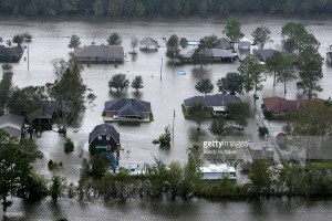 DULARGE ,LA - SEPTEMBER 24: Aerial view of Dularge, Louisiana on Saturday, September 24, 2005. Hurricane Rita caused massive damage as it moved across Southern Texas and Louisiana. (Photo by Sandy Huffaker/Getty Images)