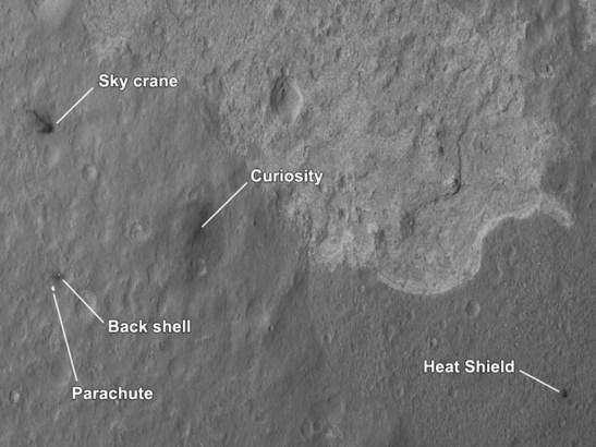 Photo du site d'atterrissage par la sonde Mars Reconnaissance Orbiter