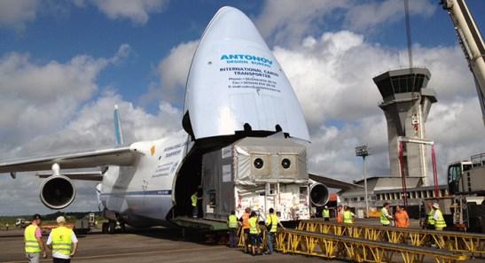 Arrivée à Cayenne (source Arianespace)