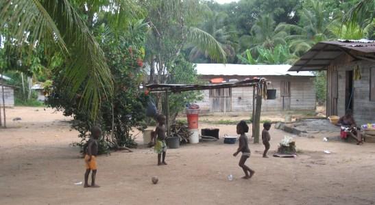 """les enfants jouent au """"football"""" avec une noix de coco"""