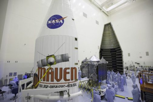 MAVEN avant l'installation de la coiffe (source NASA)