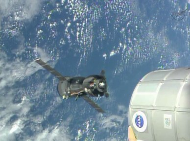 le Soyouz TMA-09 lors de son repositionnement (source NASA TV)