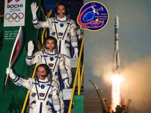 Photomontage par @spaceexplore (Espace & Exploration) : Décollage réussi pour le Soyouz TMA-11M vers l'ISS avec Tyurin, Wakata, Mastracchio et la torche olympique.
