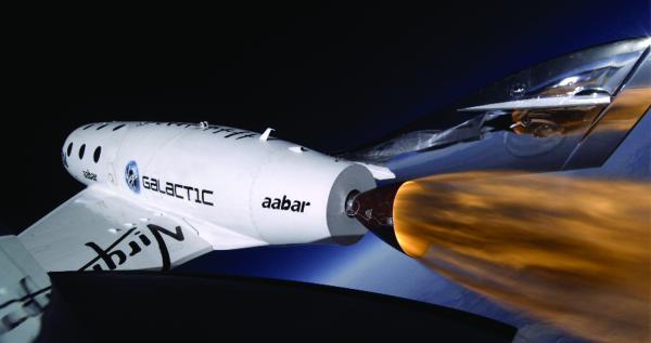 SpaceShipTwo à 71000 pieds d'altitude et la Terre en fond (source Virgin Galactic)