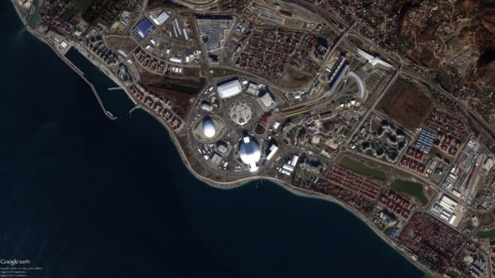 Le village olympique par le satellite DigitalGlobe le 2 Janvier 2014 (source : DigitalGlobe)