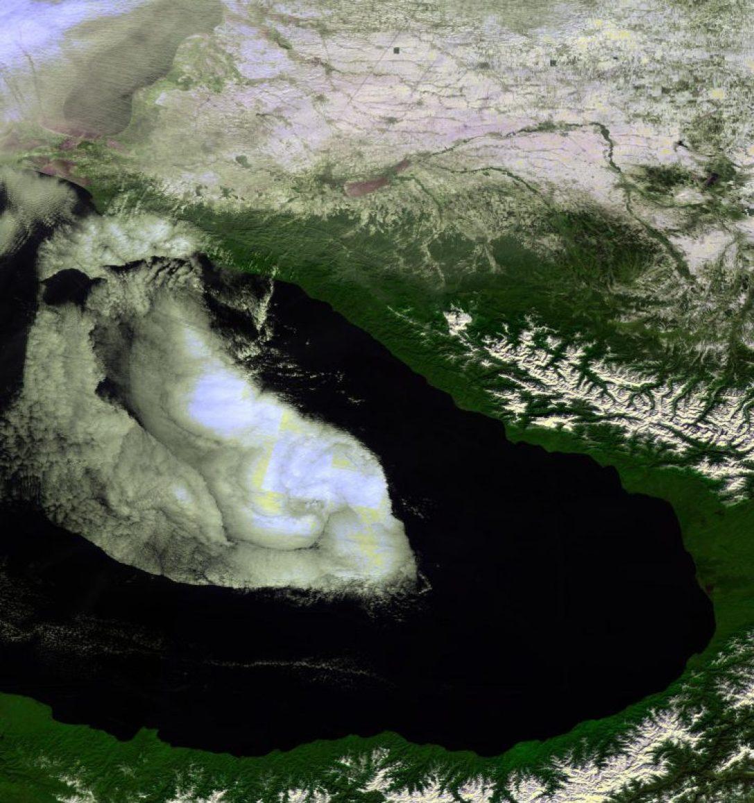 Image  de la végétation  de la Mer Noire prise par Proba-V, dont Sotchi (centre de l'image).  Image acquise le 7 Février 2014, à 333 m de résolution (source ESA)