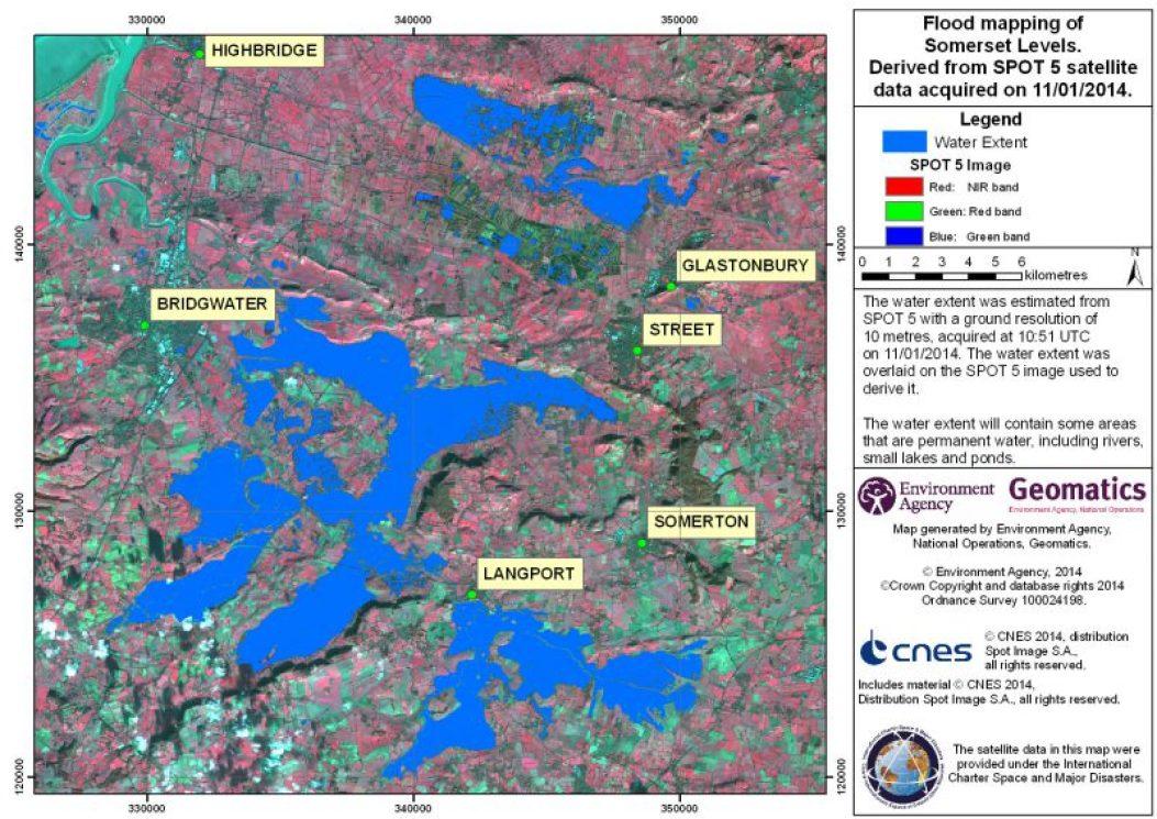 Inondations du Sud Ouest de l'Angleterre vues par Spot 5 (source CNES - International Charter)