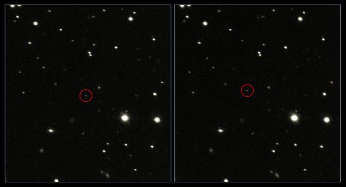 Deux images de gaia prises à environ 6,5 minutes d'intervalle, le 23 Janvier, par le télescope VST de l'Observatoire Européen Austral (source ESO/ESA)