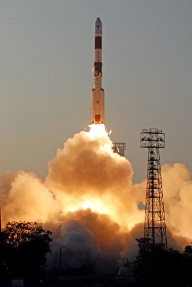 Décollage de la fusée indienne PSLV-C24 le 4 avril 2013 (source ISRO)