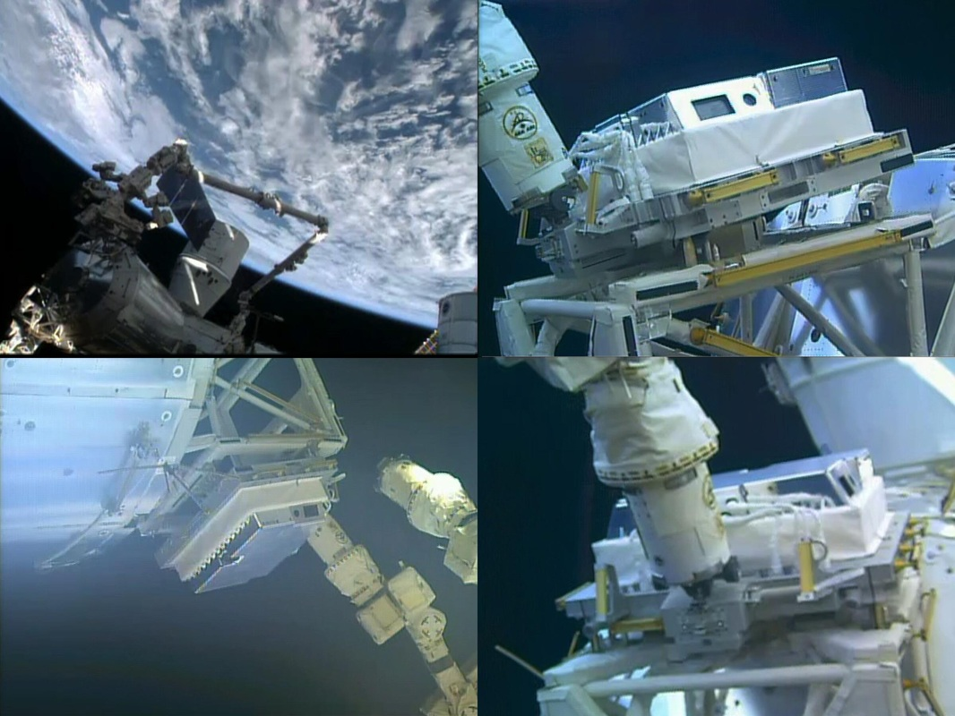 Images de Dextre installant HDEV sur la module Columbus (source NASA TV/ @lionelferra)