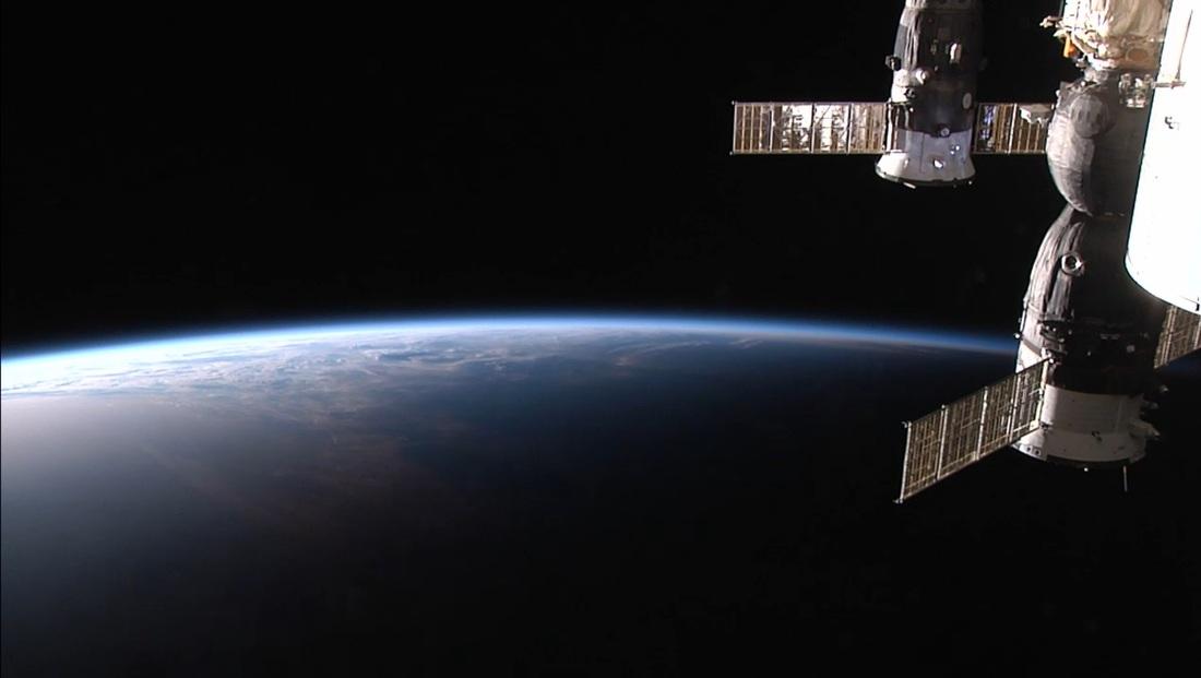 Le Soyouz TMA-13 arrimé à l'ISS (source : NASA/HDEV)